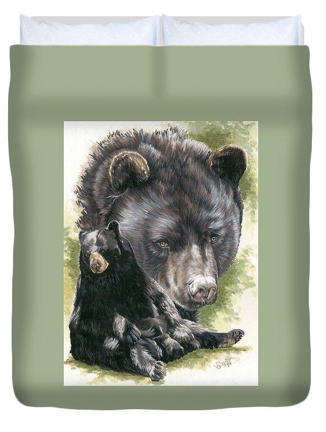 Black Bear Duvet Cover featuring the mixed media Ebony by Barbara Keith