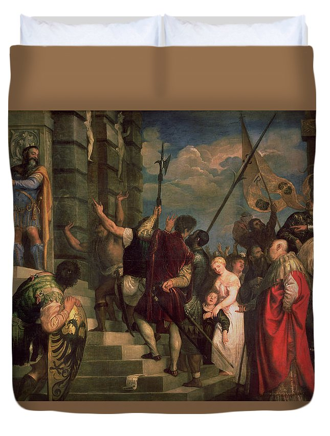Titian Duvet Cover featuring the painting Ecce Homo, 1543 by Titian