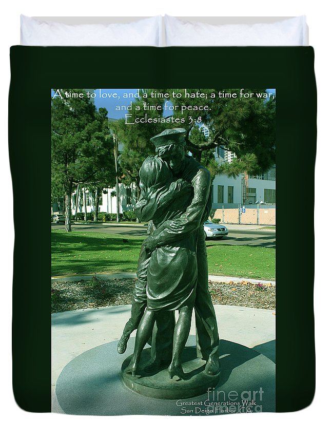 Scripture Duvet Cover featuring the photograph Ecclesiastes 3-8 by Tommy Anderson