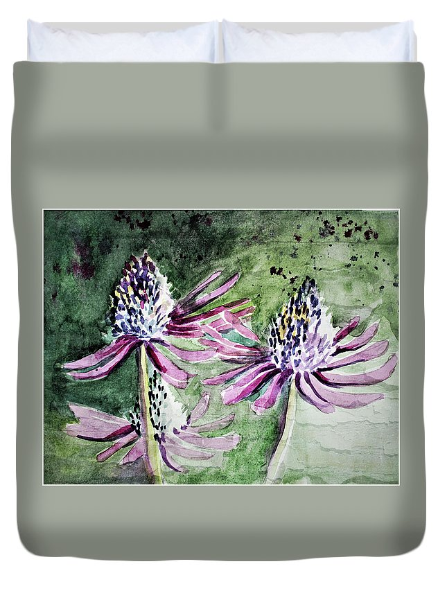 Cone Flower Duvet Cover featuring the painting Echinacea Cone Flower by Mindy Newman
