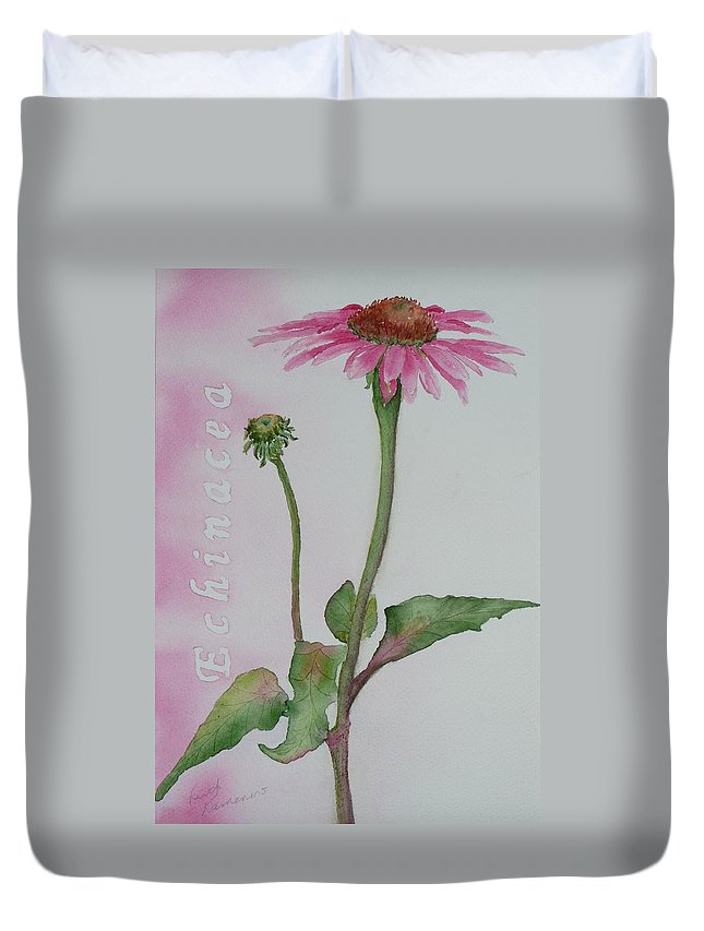Flower Duvet Cover featuring the painting Echinacea by Ruth Kamenev