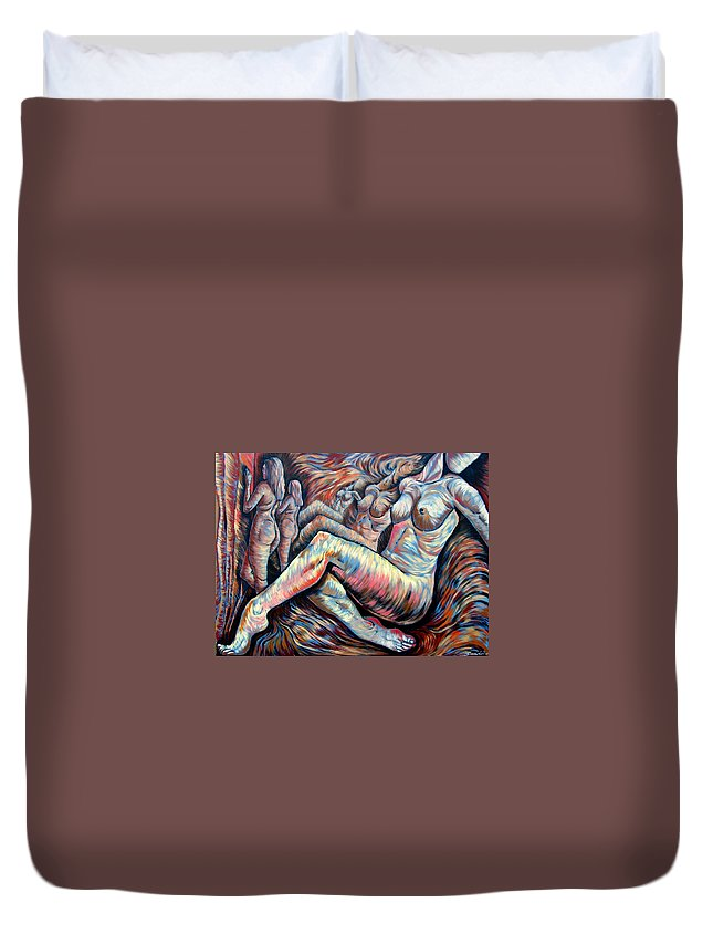 Surrealism Duvet Cover featuring the painting Echo Of A Nude Gesture II by Darwin Leon