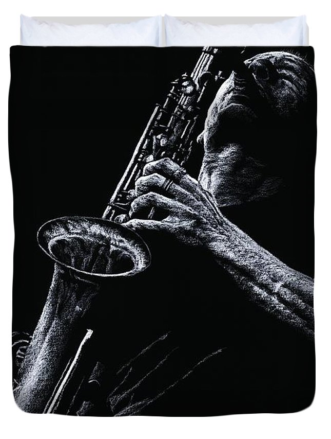 Musician Duvet Cover featuring the pastel Eclectic Sax by Richard Young