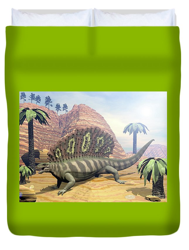 Dinosaur Duvet Cover featuring the digital art Edaphosaurus Dinosaur - 3d Render by Elenarts - Elena Duvernay Digital Art