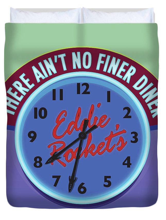Clock Duvet Cover featuring the digital art Eddie Rocket Clock by Greg Joens