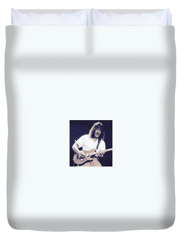 Duvet Cover featuring the photograph Eddie Van Halen by Wayne Doyle