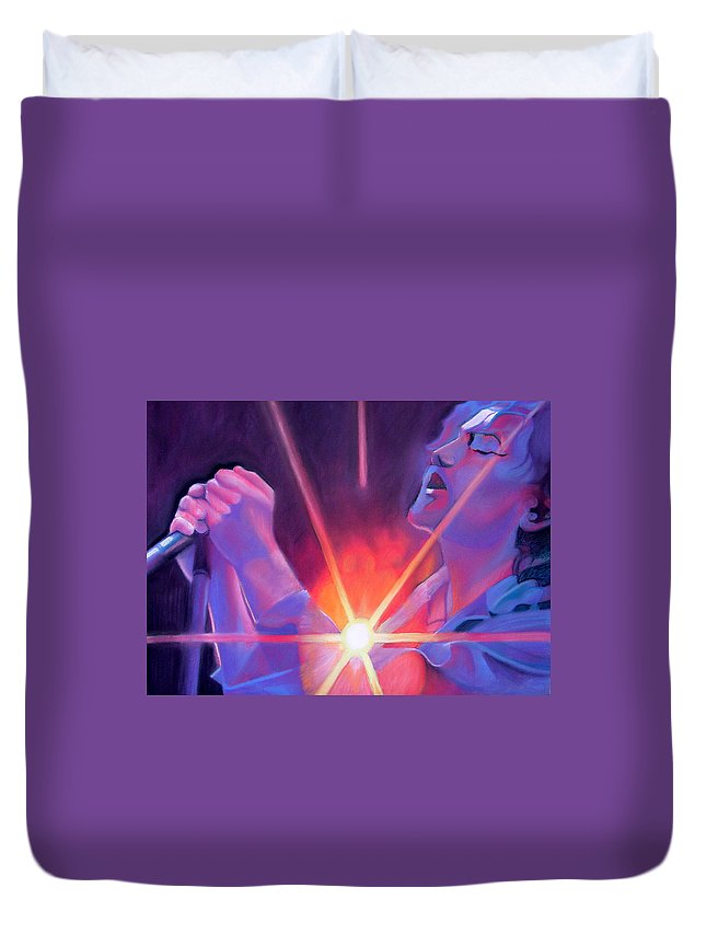 Eddie Veder Duvet Cover featuring the drawing Eddie Vedder And Lights by Joshua Morton