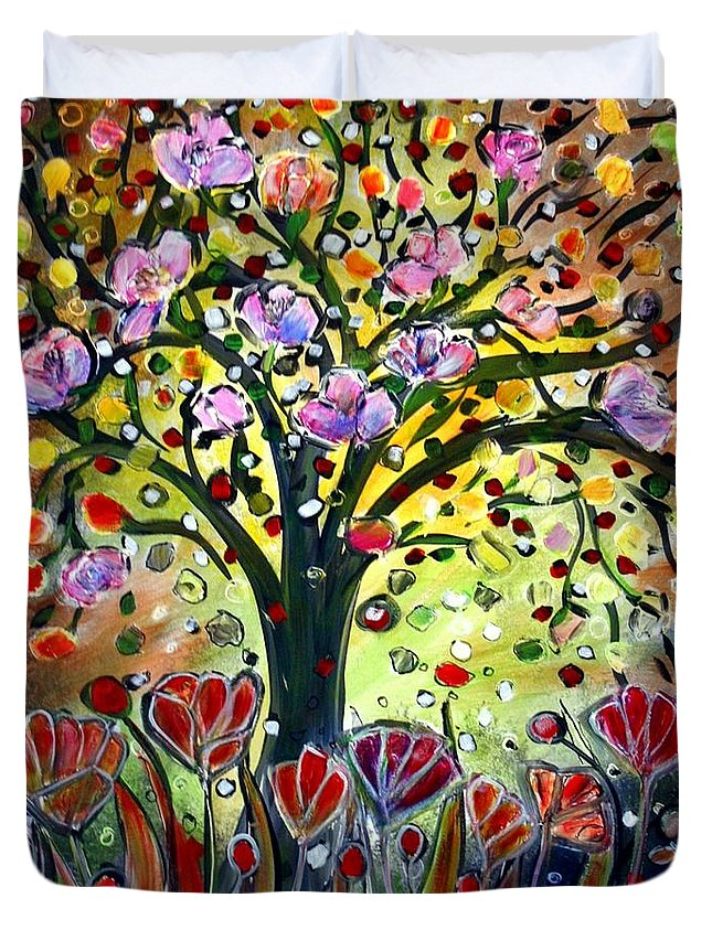 Flowers Duvet Cover featuring the painting Eden Garden by Luiza Vizoli
