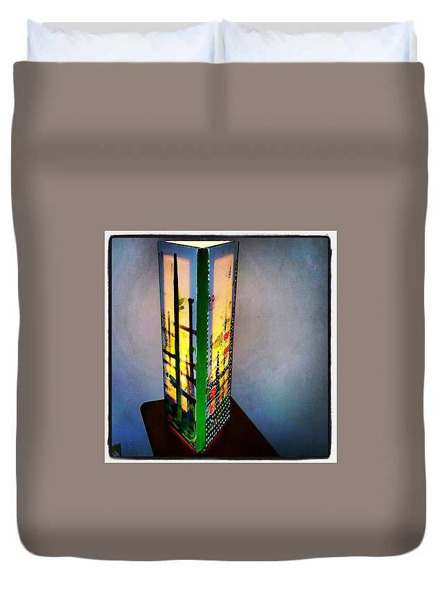 Duvet Cover featuring the painting Eden Lamp by Valentin Quintana