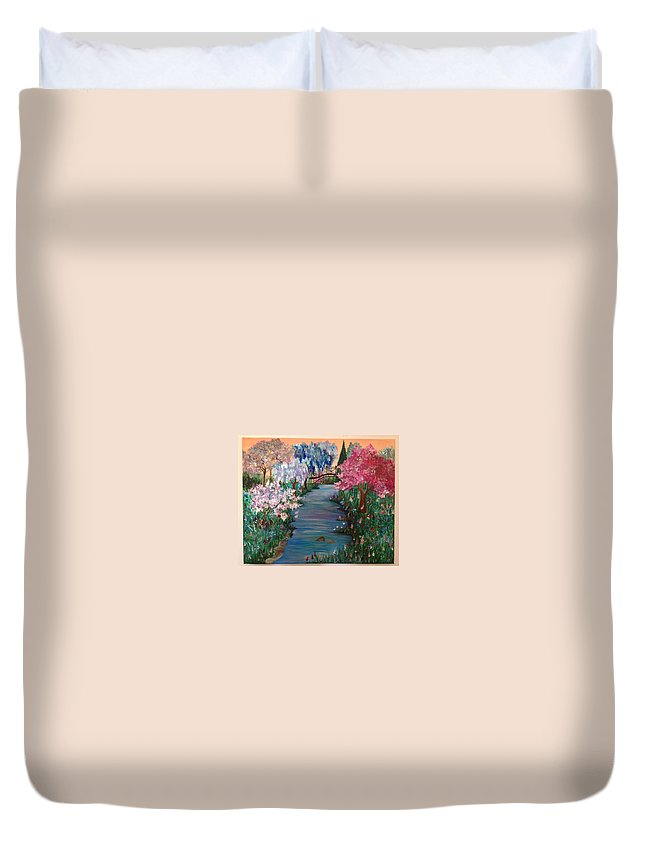 Landscape Duvet Cover featuring the painting Eden by Marija Kovacevic