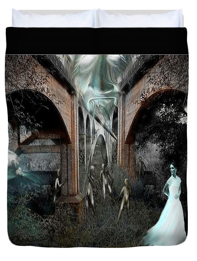 Eden Surreal Creatures Bridges Dreaming Duvet Cover featuring the digital art Eden by Veronica Jackson