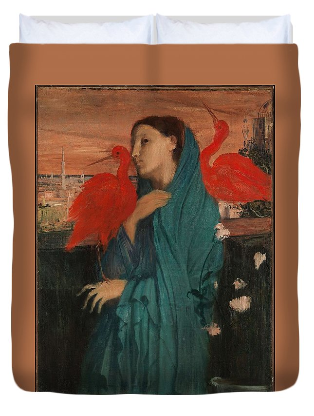 Girl Duvet Cover featuring the painting Edgar Degas - Young Woman With Ibis - 1860-1862 by Edgar Degas