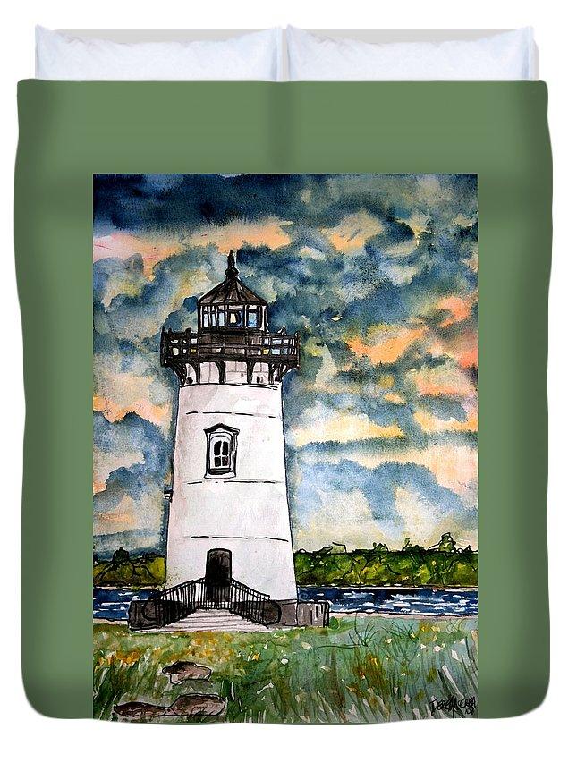 Lighthouse Duvet Cover featuring the painting Edgartown Lighthouse Martha's Vineyard Mass by Derek Mccrea