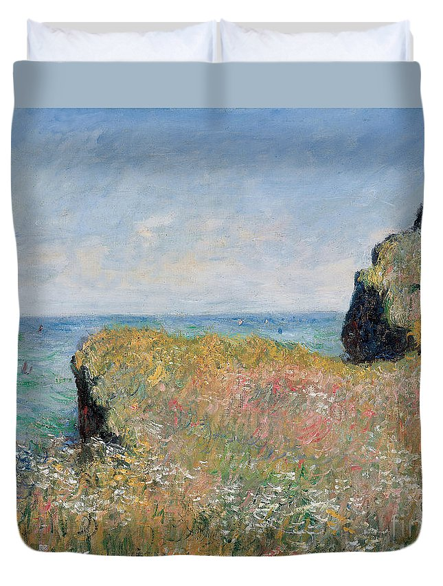 Monet Duvet Cover featuring the painting Edge Of The Cliff Pourville by Claude Monet