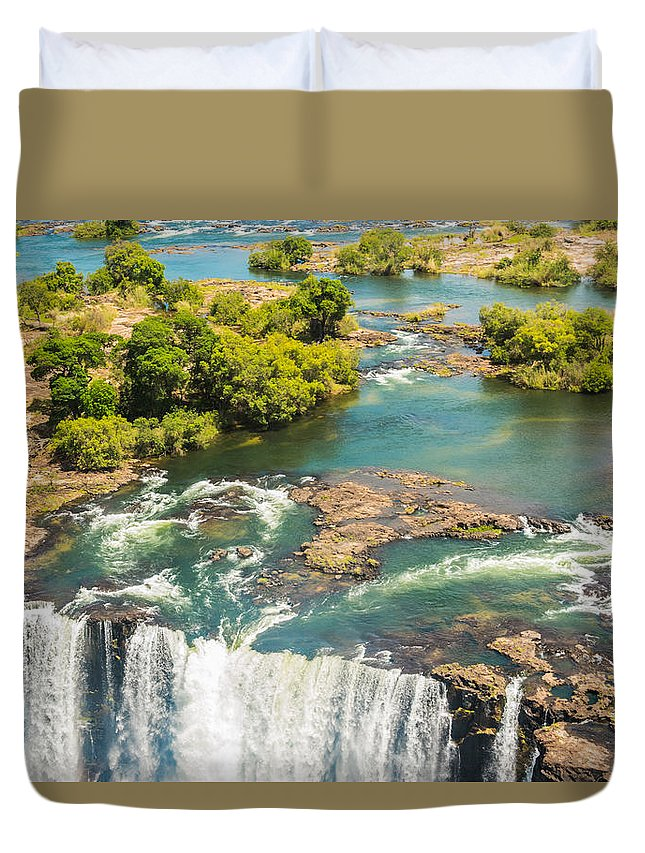 Victoria Duvet Cover featuring the photograph Edge Of The Falls by Brandon Falls