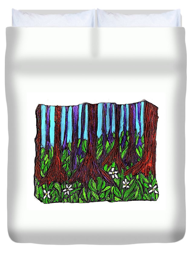 Trees Duvet Cover featuring the painting Edge Of The Swamp by Wayne Potrafka