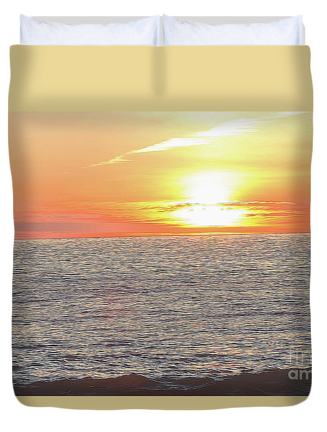 Beach Duvet Cover featuring the photograph Edge Of The World by Carolyn Truchon