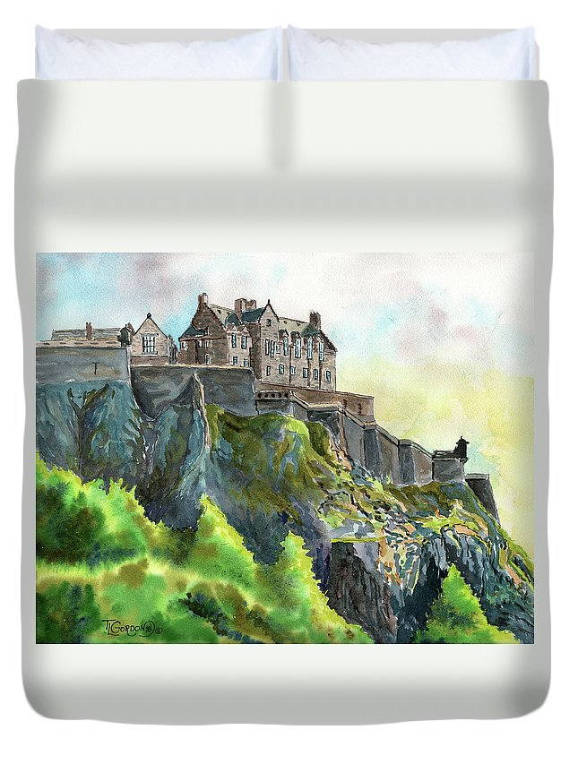 Timithy Duvet Cover featuring the painting Edinburgh Castle From Princes Street by Timithy L Gordon