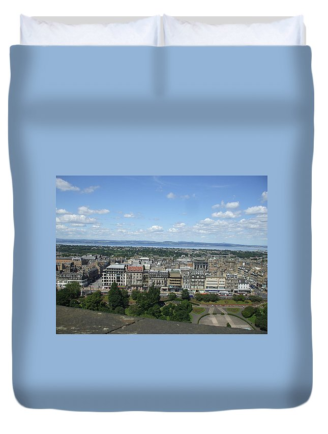 Scottish Duvet Cover featuring the photograph Edinburgh Castle View #2 by Lisa Collinsworth