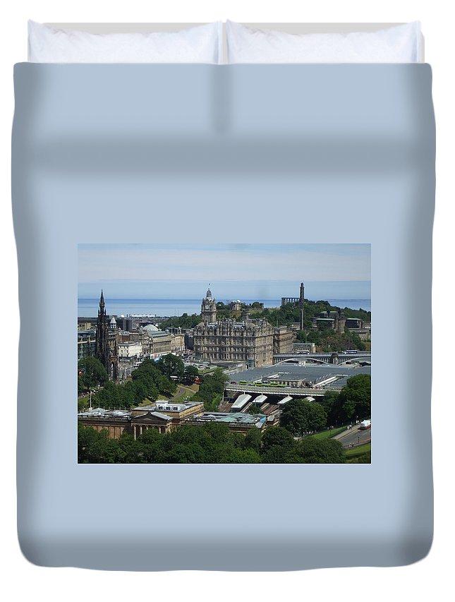 Scottish Duvet Cover featuring the photograph Edinburgh Castle View #3 by Lisa Collinsworth