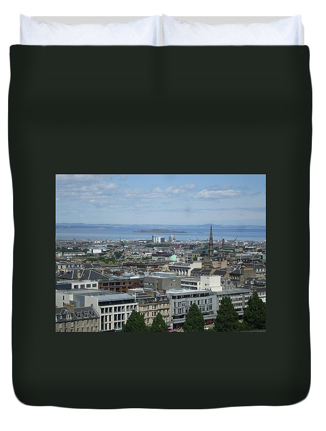 Scottish Duvet Cover featuring the photograph Edinburgh Castle View #5 by Lisa Collinsworth