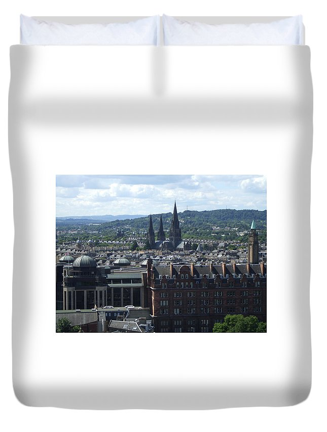 Scottish Duvet Cover featuring the photograph Edinburgh Castle View #8 by Lisa Collinsworth