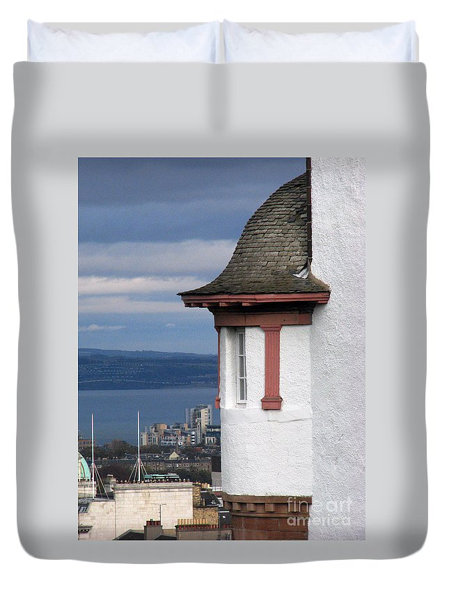 Scotland Duvet Cover featuring the digital art Edinburgh Scotland by Amanda Barcon