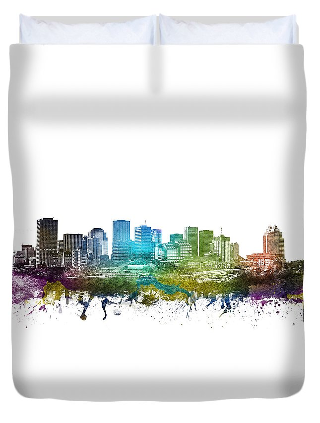 Edmonton Duvet Cover featuring the digital art Edmonton Cityscape 01 by Aged Pixel