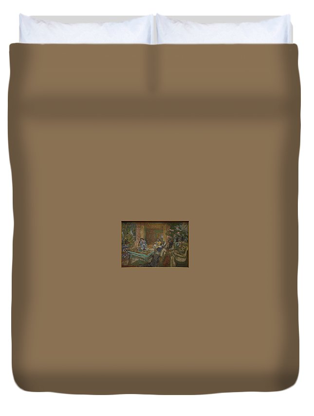 Nature Duvet Cover featuring the painting Edouard Vuillard Sewing Party At Loctudy by Edouard Vuillard