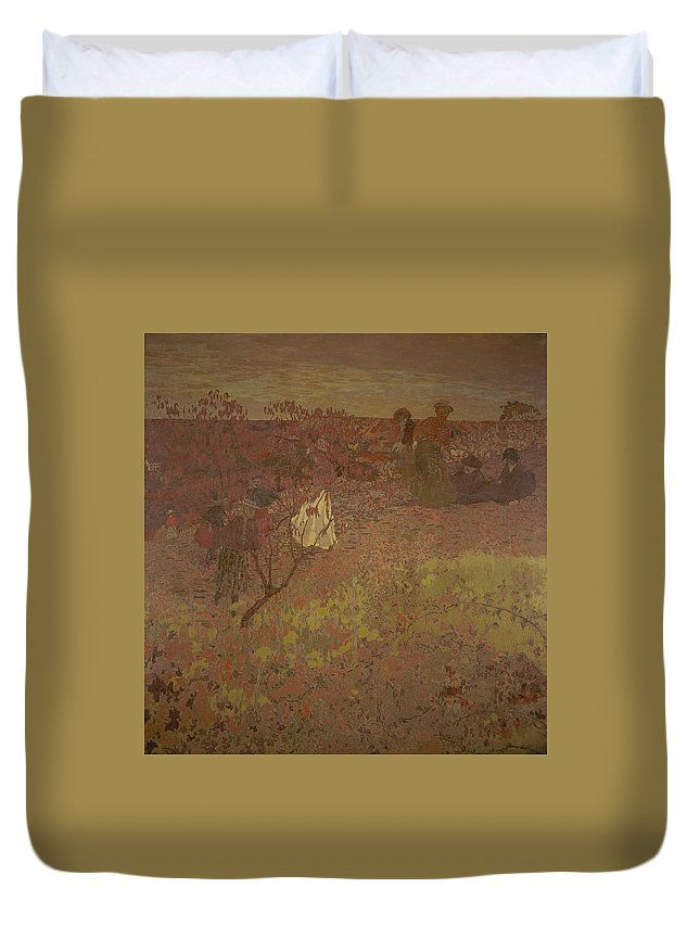 Nature Duvet Cover featuring the painting Edouard Vuillard - Walking In The Vineyard by Edouard Vuillard