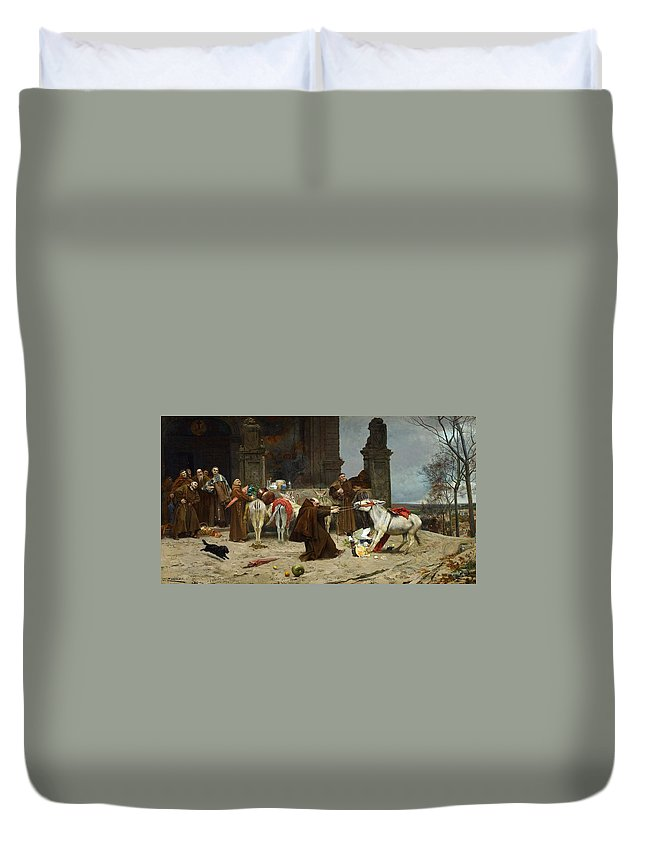 Man Duvet Cover featuring the painting Eduardo Zamacois Y Zabala , Returning To The Monastery 1868 by Eduardo Zamacois y Zabala