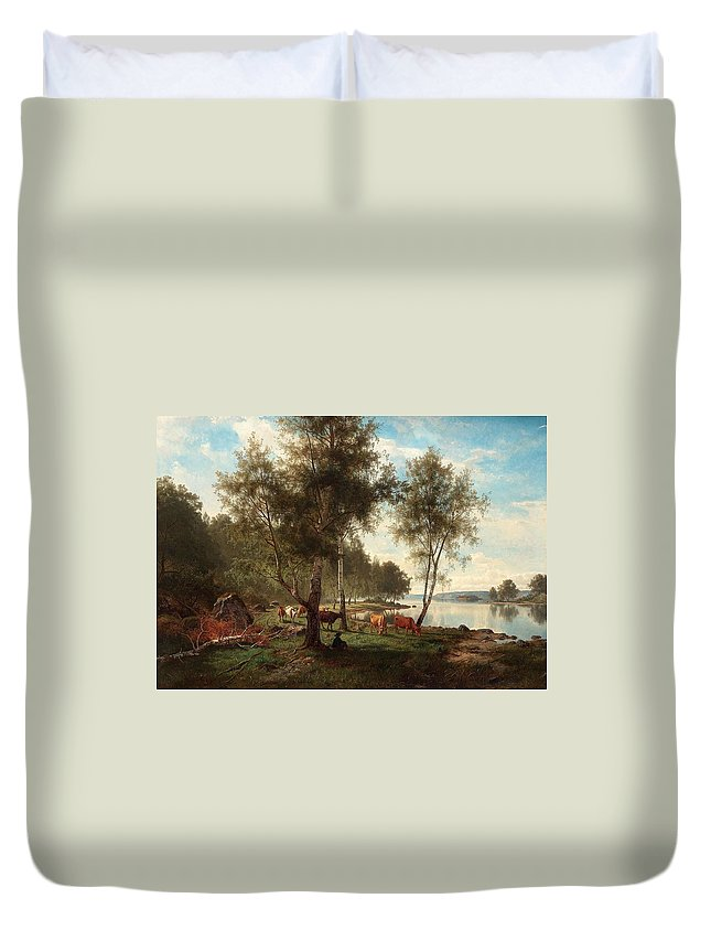 Nature Duvet Cover featuring the painting Edvard Bergh, Summer Landscape With Cattle And Birches. by Edvard Bergh