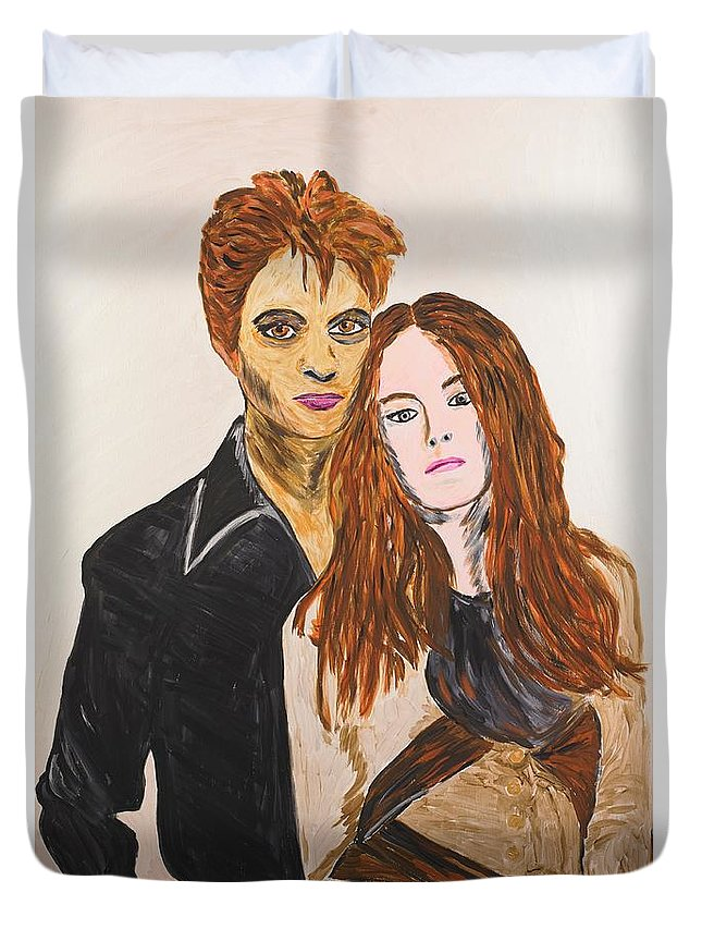 Edward Duvet Cover featuring the painting Edward And Bella by Valerie Ornstein