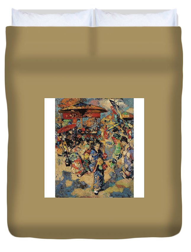 Art Duvet Cover featuring the painting Edward Atkinson Hornel 1864 - 1933 Carnival Day, Japan by Edward Atkinson Hornel