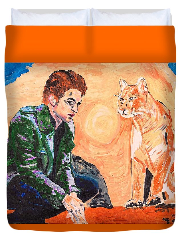 Edward Duvet Cover featuring the painting Edward Cullen And His Diet by Valerie Ornstein