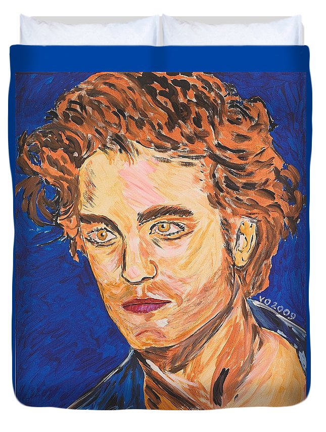 Edward Duvet Cover featuring the painting Edward Cullen by Valerie Ornstein