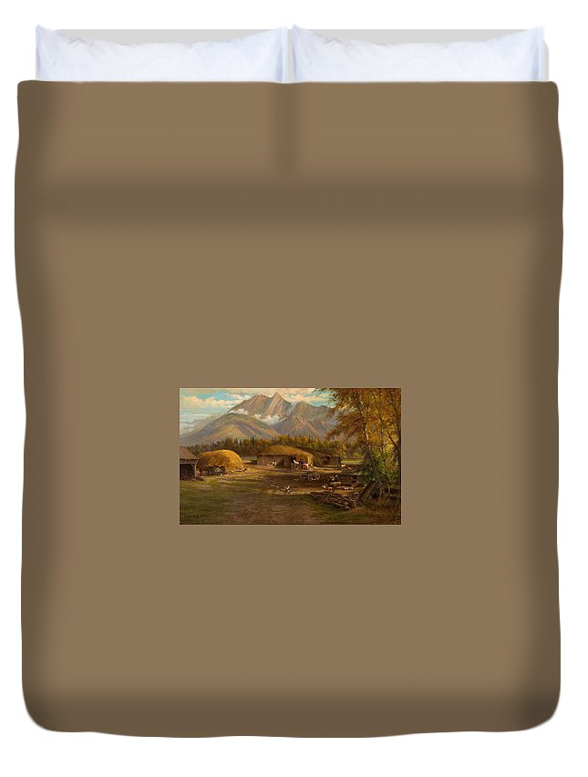 Nature Duvet Cover featuring the painting Edward Hill 1843-1923 Adamsons Ranch, Utah by Edward Hill