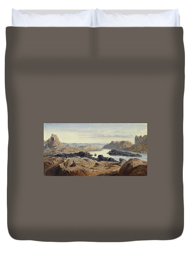Nature Duvet Cover featuring the painting Edward Lear 1812 - 1888 British Philae by Edward Lear