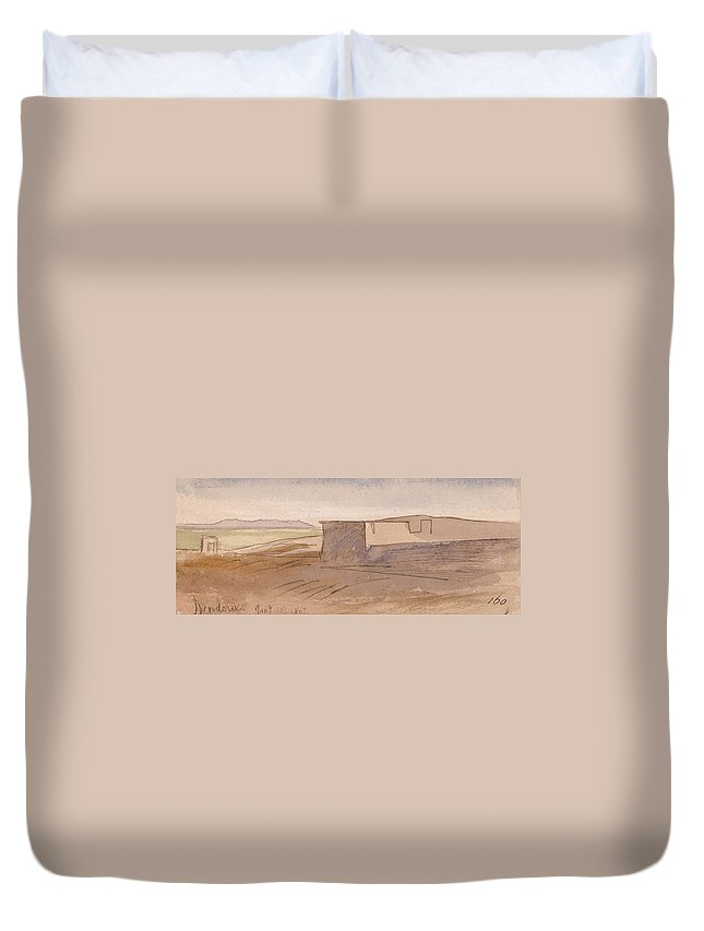 Art Duvet Cover featuring the painting Edward Lear - Dendera by Edward Lear