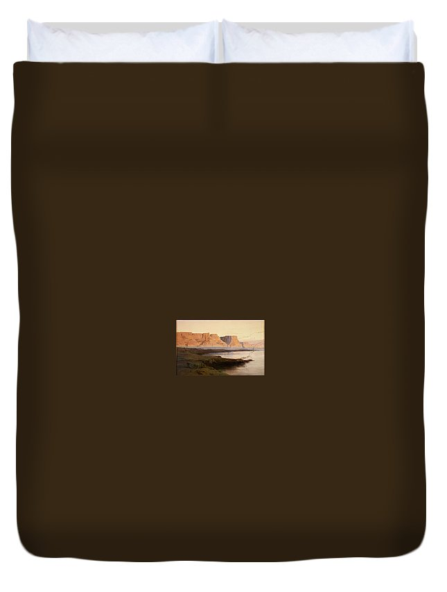 Nature Duvet Cover featuring the painting Edward Lear The Rocks At Kasr Es Saad by Edward Lear
