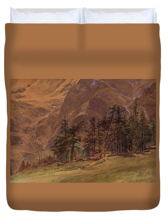 Nature Duvet Cover featuring the painting Edward Theodore Compton American 1849-1921 Mountains At Twilight, 1907 by Edward Theodore Compton