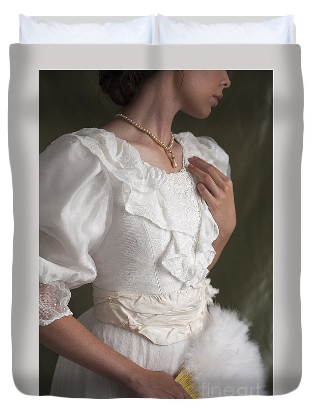 Edwardian Duvet Cover featuring the photograph Edwardian Woman Mid Section by Lee Avison