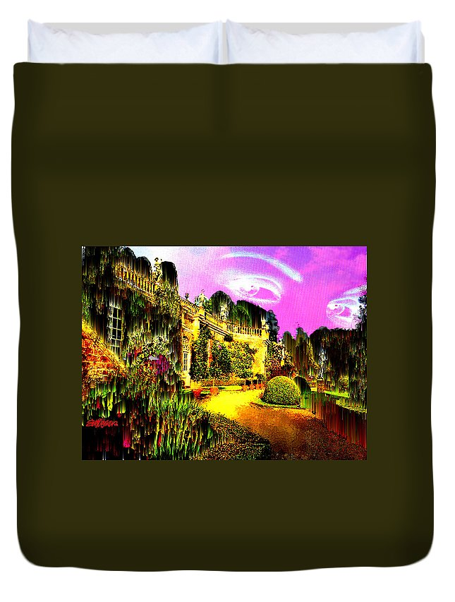 Mansion Duvet Cover featuring the digital art Eerie Estate by Seth Weaver