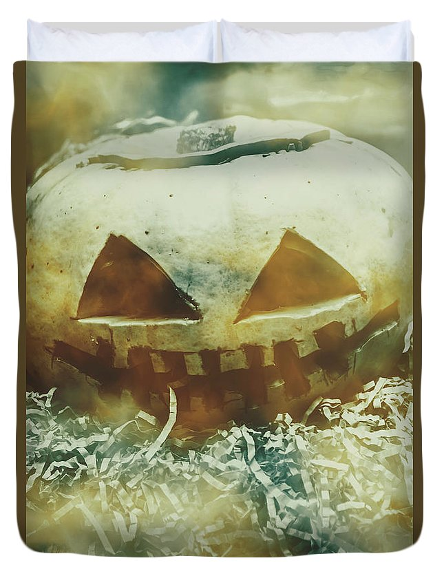 Pumpkin Duvet Cover featuring the photograph Eerie Ghoulish Halloween Pumpkin Head by Jorgo Photography - Wall Art Gallery
