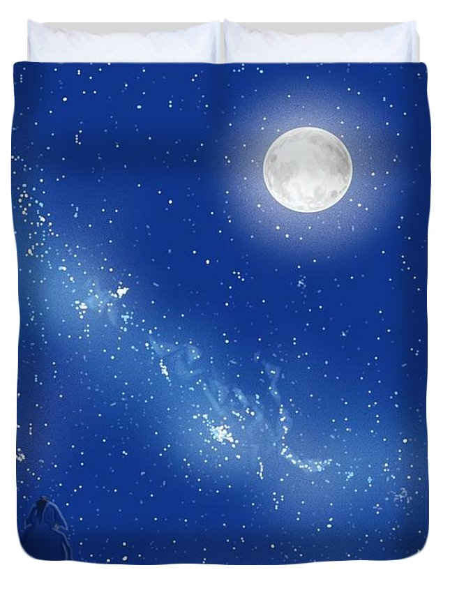 Amber Stanford Duvet Cover featuring the painting Eeyore A Lonely Night by Amber Stanford
