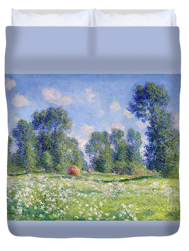 Effect Of Spring Duvet Cover featuring the painting Effect Of Spring At Giverny by Claude Monet