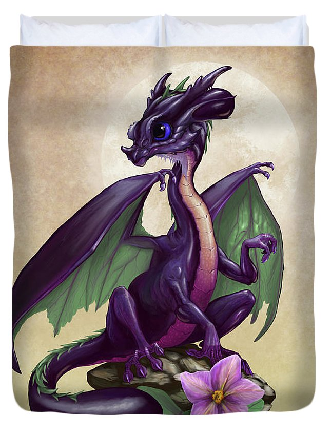 eggplant dragon duvet cover for sale by stanley morrison. Black Bedroom Furniture Sets. Home Design Ideas
