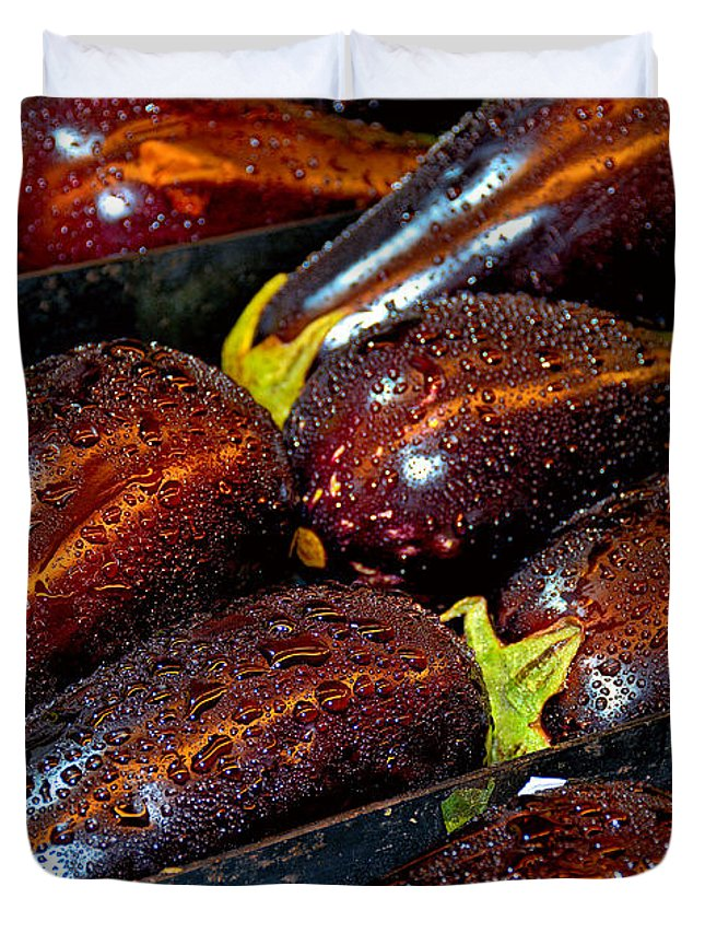 Eggplants Duvet Cover featuring the photograph Eggplants by Robert Meyers-Lussier