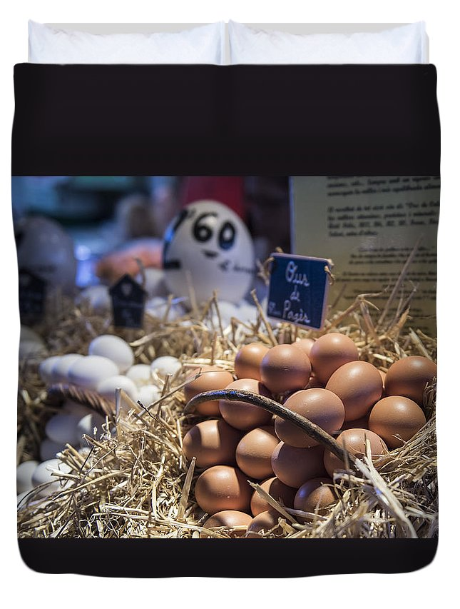 Barcelona Duvet Cover featuring the photograph Eggsactly What You Are Looking For - La Bouqueria - Barcelona Spain by Jon Berghoff