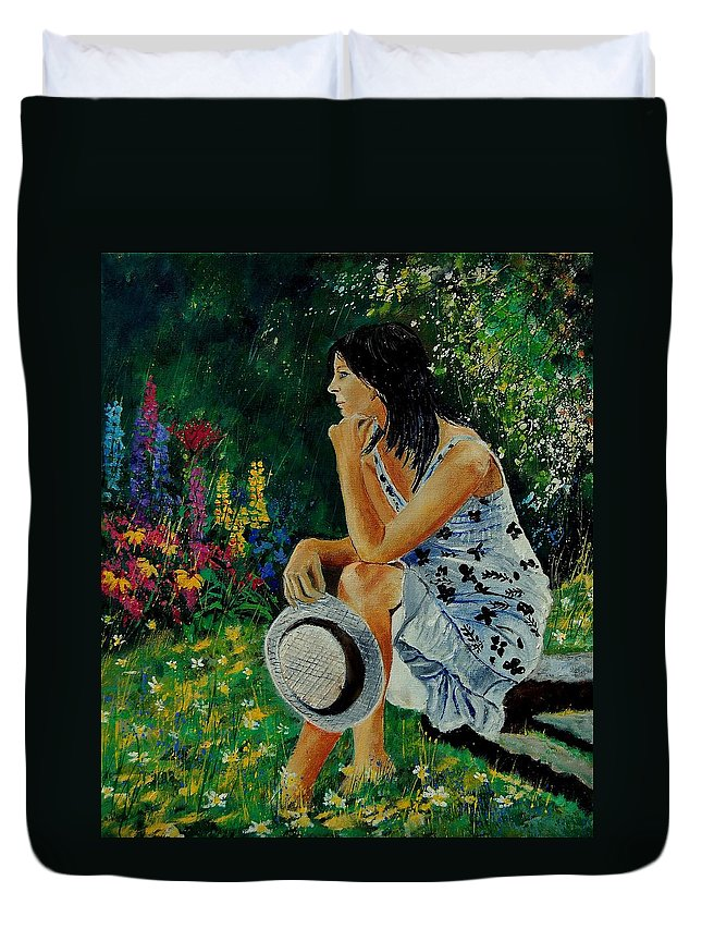 Girl Duvet Cover featuring the painting Eglantine 679001 by Pol Ledent